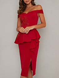 cheap -Sheath / Column Off Shoulder Tea Length Jersey Elegant Cocktail Party / Holiday Dress with Appliques / Split Front / Lace Insert 2020
