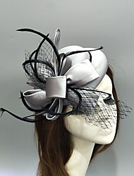cheap -Feather / Net / Fabrics Fascinators / Hats / Headwear with Feather / Bowknot / Cap 1 Piece Wedding / Special Occasion Headpiece