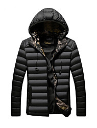 cheap -Men's Daily / Beach Winter Regular Coat, Solid Colored / Camo / Camouflage Hooded Long Sleeve Polyester Black / Wine / Army Green