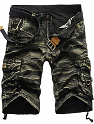 cheap -Men's Streetwear Cotton Loose Shorts Tactical Cargo Pants Solid Color Camouflage Knee Length Black Red Army Green