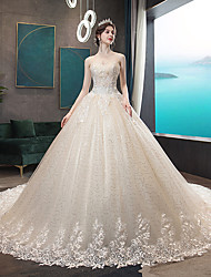 cheap -A-Line Strapless Court Train Satin / Tulle / Sequined Strapless Made-To-Measure Wedding Dresses with Beading / Appliques 2020