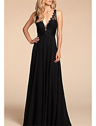 cheap -A-Line Plunging Neck Floor Length Chiffon / Lace Bridesmaid Dress with Pleats / Open Back