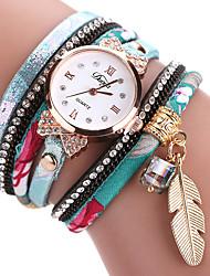 cheap -Women's Bracelet Watch Cubic Zirconia Casual Elegant Sky Blue PU Leather Chinese Quartz Blue Casual Watch Imitation Diamond 1 pc Analog One Year Battery Life
