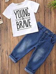 cheap -Kids Boys' Basic Color Block Short Sleeve Clothing Set Blue
