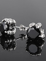 cheap -Men's Stud Earrings 3D Precious Fashion Silver Plated Earrings Jewelry Black / Silver For Daily Street Work 1 Pair