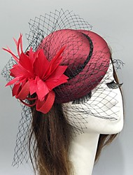 cheap -Feather / Net Fascinators / Hats / Headwear with Feather / Cap / Flower 1 Piece Wedding / Special Occasion Headpiece