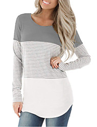 cheap -Women's Daily T-shirt - Striped Black
