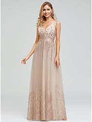 cheap -A-Line Sexy Prom Dress Plunging Neck Sleeveless Floor Length Chiffon Tulle with Embroidery 2021