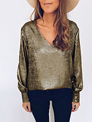 cheap -Women's Daily Street chic Blouse - Solid Colored Army Green