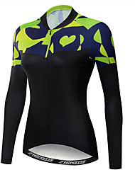 cheap -21Grams Women's Long Sleeve Cycling Jersey Winter Fleece Polyester Elastane Green / Black Novelty Bike Jersey Top Mountain Bike MTB Road Bike Cycling UV Resistant Breathable Moisture Wicking Sports