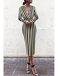 cheap -Women's Sheath Dress - Striped Rainbow S M L XL