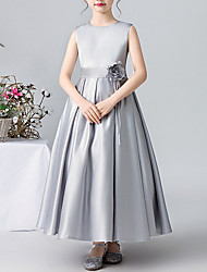 cheap -A-Line Round Ankle Length Satin Junior Bridesmaid Dress with Appliques / Pleats