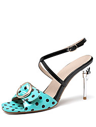 cheap -Women's Sandals Stiletto Heel Open Toe Buckle Patent Leather Casual Summer Black / White / Blue / Color Block