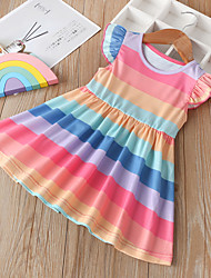 cheap -Baby Girls' Active / Boho Blue & White Color Block / Rainbow / Patchwork Ruffle / Patchwork Sleeveless / Short Sleeve Knee-length Dress Blushing Pink