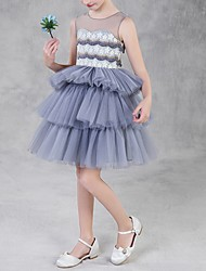 cheap -Princess Knee Length Pageant Flower Girl Dresses - Polyester Sleeveless Jewel Neck with Tier