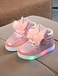 cheap -Girls' Sneakers LED Comfort LED Shoes Mesh PU LED Shoes Little Kids(4-7ys) Daily Party & Evening Feather Pearl LED Pink Gold Silver Spring Fall / Color Block