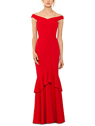 cheap -Mermaid / Trumpet Elegant Red Wedding Guest Formal Evening Dress Off Shoulder Short Sleeve Floor Length Jersey with Ruffles Tier 2020