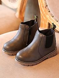cheap -Girls' Combat Boots PU Boots Big Kids(7years +) Black / Camel / Gray Winter / Mid-Calf Boots