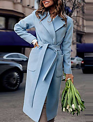 cheap -Women's Daily Vintage / Sophisticated Fall & Winter Long Coat, Solid Colored Peaked Lapel Long Sleeve Polyester Wine / Light Blue / Navy Blue