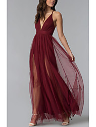 cheap -Sheath / Column Elegant Prom Dress Halter Neck Sleeveless Floor Length Tulle with Sash / Ribbon Pleats Split Front 2020
