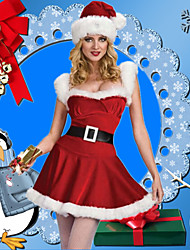 cheap -Mrs.Claus Dress Women's Adults' Costume Party Christmas Christmas Velvet Dress / Belt / Hat