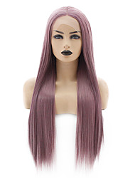 cheap -Synthetic Lace Front Wig Straight Taylor Middle Part Lace Front Wig Long Black / Rose Synthetic Hair 22-26 inch Women's Heat Resistant Women Hot Sale Red / Glueless