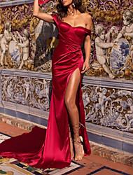 cheap -Sheath / Column Elegant Formal Evening Dress One Shoulder Sleeveless Sweep / Brush Train Stretch Satin with Pleats 2020