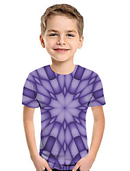 cheap -Kids Boys' Active Street chic Geometric 3D Patchwork Print Short Sleeve Hoodie & Sweatshirt Purple