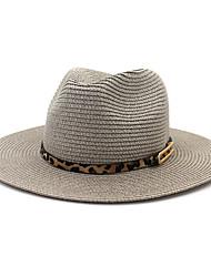 Недорогие -Жен. Для вечеринки Классический Панама Соломенная шляпа Солома,Однотонный Все сезоны Черный Светло-серый Белый