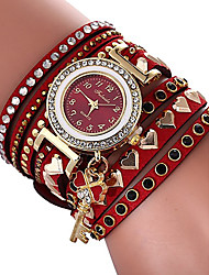 cheap -Women's Bracelet Watch Quartz Heart Stylish Heart shape Casual Watch Cubic Zirconia PU Leather Red Analog - Red One Year Battery Life / Imitation Diamond
