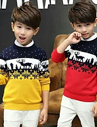 cheap -Kids Boys' Basic Print Christmas Long Sleeve Sweater & Cardigan Yellow