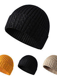 cheap -Skull Caps Running Beanie Men's Women's Solid Colored Headwear Thermal / Warm Windproof Breathable for Running Fitness Jogging Sweater Autumn / Fall Spring Winter Black Dark Grey Yellow