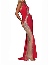cheap -A-Line Halter Neck Sweep / Brush Train Tulle Elegant Formal Evening Dress 2020 with Beading / Sequin