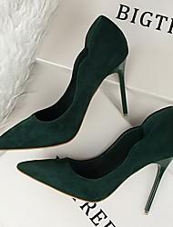 cheap -Women's Heels Stiletto Heel Pointed Toe Suede Winter Black / Orange / Green / Daily