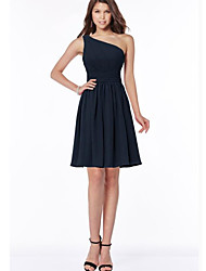 cheap -A-Line One Shoulder Above Knee Chiffon Bridesmaid Dress with Pleats / Ruching