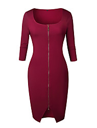 cheap -Women's Holiday Party & Evening Street chic Elegant Bodycon Sheath Dress - Solid Colored Black Wine Blue S M L XL