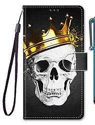 cheap -Case For Apple iPhone 11 / iPhone 11 Pro / iPhone 11 Pro Max Wallet / Card Holder / with Stand Full Body Cases Skull PU Leather / TPU