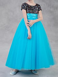 cheap -Ball Gown Floor Length Pageant Flower Girl Dresses - Polyester Short Sleeve Jewel Neck with Paillette