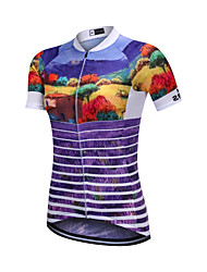 cheap -YORK TIGERS Women's Short Sleeve Cycling Jersey Silicone Elastane Purple Bike Jersey Top Mountain Bike MTB Road Bike Cycling Breathable Quick Dry Reflective Strips Sports Clothing Apparel / Advanced