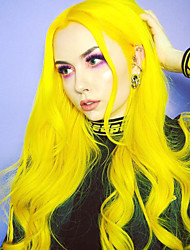 cheap -Synthetic Lace Front Wig Body Wave Free Part Lace Front Wig Long Yellow Synthetic Hair 18-24 inch Women's Heat Resistant Synthetic Easy dressing Yellow / Natural Hairline