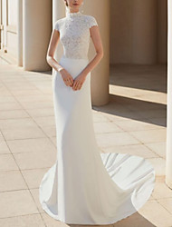 cheap -Sheath / Column Wedding Dresses High Neck Court Train Lace Satin Cap Sleeve Formal Backless with Lace Insert 2021