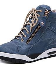 cheap -Women's Sneakers Wedge Heel Round Toe Denim Fall & Winter Black / Blue