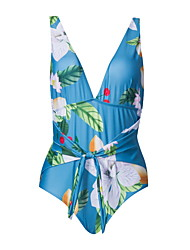 cheap -Women's Basic Blue Bandeau Cheeky High Waist Bikini Swimwear - Floral Geometric Lace up Print S M L Blue