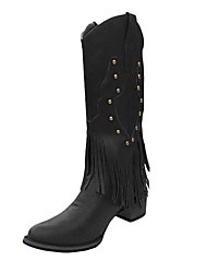 cheap -Women's Boots Low Heel Round Toe Tassel Faux Leather Mid-Calf Boots Classic Fall & Winter Black / Brown