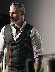 cheap -Men's Vest, Solid Colored V Neck Polyester Black
