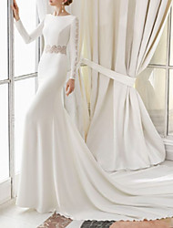 cheap -Sheath / Column Jewel Neck Court Train Satin Long Sleeve Wedding Dresses with Lace Insert 2020