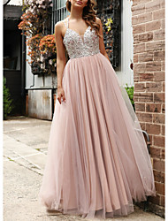 cheap -A-Line Spaghetti Strap Floor Length Tulle / Sequined Open Back Prom Dress 2020 with Beading / Pleats