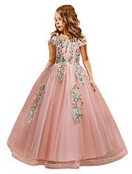 cheap -Princess Dress Party Costume Flower Girl Dress Girls' Movie Cosplay Princess Pink / Green / Beige Dress Children's Day Masquerade Polyester