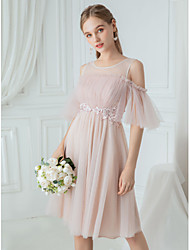 cheap -A-Line Jewel Neck Knee Length Polyester / Lace / Tulle Bridesmaid Dress with Draping / Lace / Illusion Sleeve