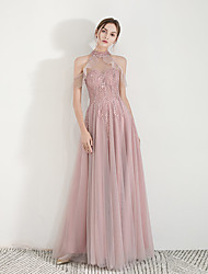 cheap -A-Line Halter Neck Floor Length Tulle Elegant Prom Dress with Sequin / Appliques 2020